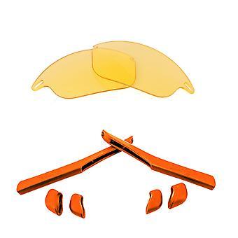 オークリーファストジャケットイエロー&レッドアンチスクラッチアンチグレアUV400シークオティックスの交換用レンズ&キット