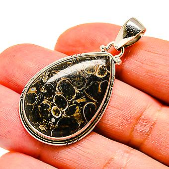 "Turritella Agate 925 Sterling Silver Pendant 1 3/4""  - Handmade Boho Vintage Jewelry PD741612"