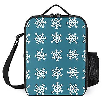 Snowflakes Printed Lunch Bags Reusable Lunch Cooler Bags