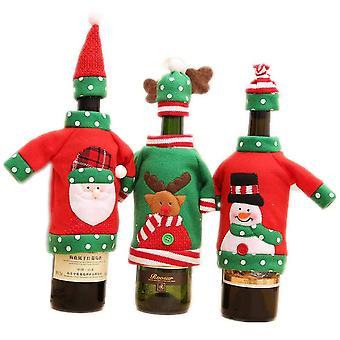 3 uppsättningar julvin flaska dekorationer