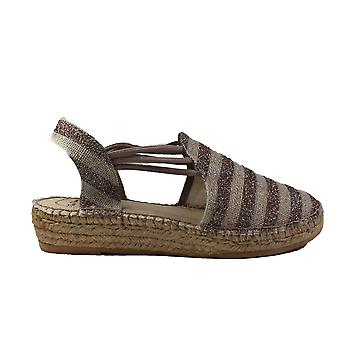 Toni Pons Nancy Taupe/Glitter Striped Canvas Womens Espadrille Shoes
