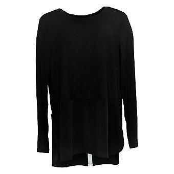 Belle by Kim Gravel Women's Top Mixed Media Knit Tunic Black A343337