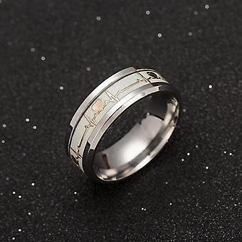 Luminous Ecg Ring Stainless Steel Promise Heartbeat Ring Glowing Jewelry Women