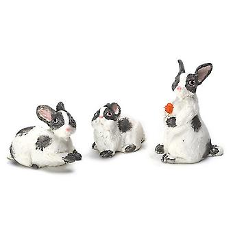 Dolls House 1:12 Scale Falcon Miniature Accessory Set Of 3 Grey White Rabbits