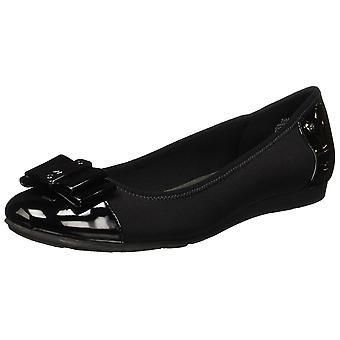 Anne Klein Sport Womens Aricia Patent Round Toe Flats Black 10 Medium (B,M)