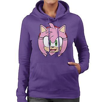 Sonic The Hedgehog Amy Rose Leende Karaktär Head Kvinnor's Hooded Tröja