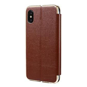 Flip Læder Flip Case Cover med slot til Apple iPhone XS Max - Brown