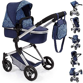 Bayer Design 18403AA Stroller, Doll Combi Pram Neo Vario, Blue with Pattern Classic