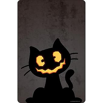 Greet Tin Card Pumpkin Kitten Halloween Plaque