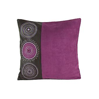 Leatherette And Fabric Accent Pillow, Purple And Brown