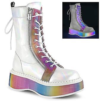 Demonia Frauen's Stiefel EMILY-350 Wht gebürstet Hologramm Vegan Leder-Regenbogen reflektierend