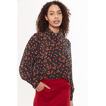 Louche Byron Flower Speckle Print Shirt Black