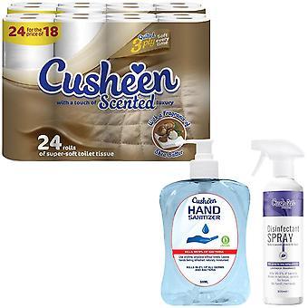 Cusheen Bundle de beurre de karité 24 rouleaux de toilette avec désinfectant pour les mains & Spray 500ml