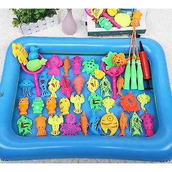 46pcs Magnetic Fishing Toy With Inflatable Pool Parent-child Interactive Game