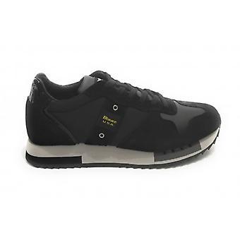 Shoes Blauer Sneaker Running Mod. Queens In Suede/ Black Blue Fabric U21bu03