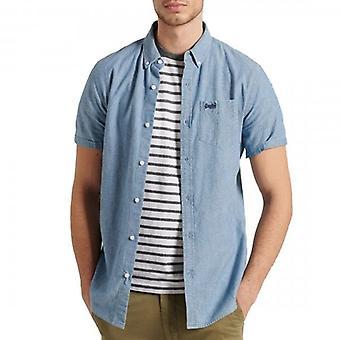 Superdry S/S Classic University Oxford Camicia Indigo Chambray Blue J0N