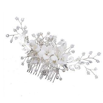 Pearl wedding barrette comb barrette flower crystal bridal hair accessory silver headdress