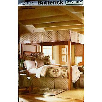 Butterick نمط الخياطة 3116 Waverly مظلة غرفة نوم سرير تنورة الملكة الملك حجم واحد