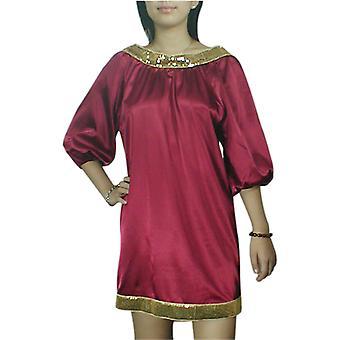 أنيقة نجمة الطفل دمية الترتر تقليم فستان صغير باللون الأحمر
