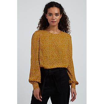 Louche Femmes Lima Gold Spot Long Sleeve Blouse Moutarde