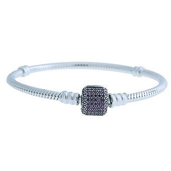 Pandora signatur lås armbånd med fancy lilla cubic zirconia - 590723CFP-16