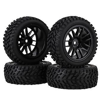 4Set plast svart 14 eiker hjulfelg + svart skjegg mønster dekk for RC1: 10 bil