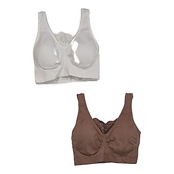 Rhonda Shear 2-pack Cotton Blend Ahh Bra with Lace Inset Beige 679965