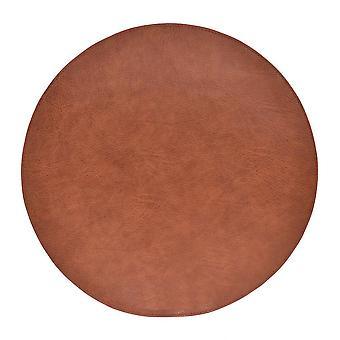 Underlägg Läder/skinnlook bruna Runda 4-pack Tablett
