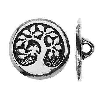TierraCast Zinn, runder Knopfbaum mit Vogel 16mm, 1 Stück, Antik Silber
