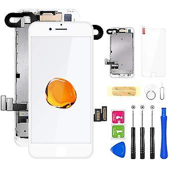 FengChun Für iPhone 7 Display Weiß, Ersatz Für LCD Touchscreen Digitizer vormontiert mit Hörmuschel,