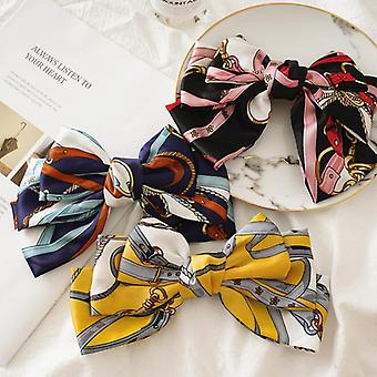 Lady updo bow spring clip hairpin