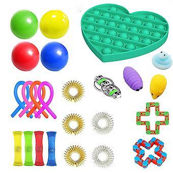Fidget Toys Sensory Set Autism Adhd Stress Relief Special Need Education Sets Bubble Push Pop Ball Rubik Cube Stress Relief Toys