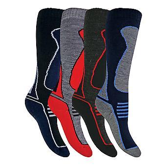 4 Pk children's knee high wool blend ski socks
