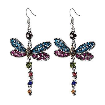 Long Earrings Multicolored Dragonfly Rhinestone  For Exhibition