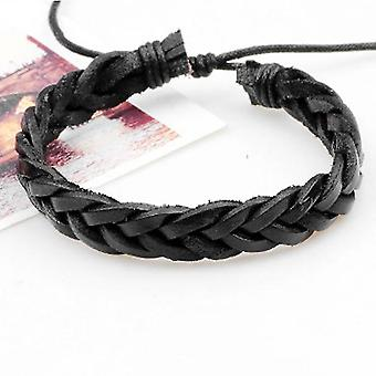 6pcs/set Vintage Fashion Men Multi-layers Pu Leather Braided Bracelet Gift