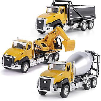 3 Stück Druckguss Engineering Baufahrzeuge Muldenkipper Bagger Mixer Truck 1:50 Maßstab Metall
