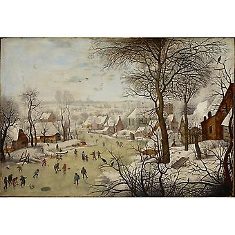 Winterlandscape With A Bird-trap,pieter Brueghel The Younger Art Reproduction.modern Hd Art Print Poster,canvas Prints Wall Art For Home Decor Picture