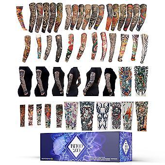 Tattoo2Go - 50pcs Novelty Fake Tattoo Stretch Arm Sleeves / Leg Stockings - Temporary Funky Fancy Dress Costume Designs
