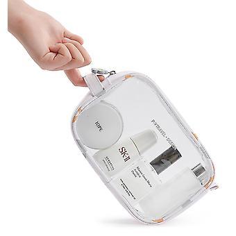 Farverig blomst vandtæt gennemsigtig PVC rejse kosmetisk taske (21cm* 14cm * 7cm)