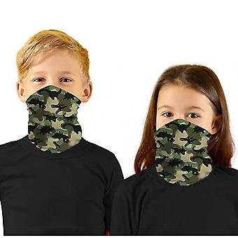 2pc Children's Print Face Mask Protectio Neck Windproof Sunscreen Outdoor Scarf