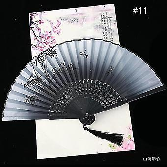 Chinese Vintage Style Folding Fan Art Craft Gift Dance Hand Fan Home Decoration Ornaments(#11)