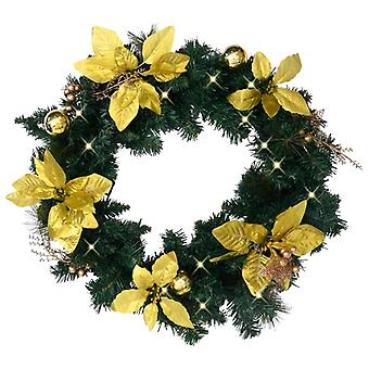 اكليل من الزهور عيد الميلاد vidaXL مع أضواء LED الأخضر 60 سم PVC