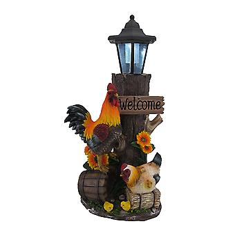 Rooster Family Solar LED Lantern Statue and Welcome Sign