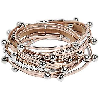 Leather Bracelet For Women With Pearl Crystal Wristbands Jewelry