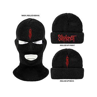 Slipknot Beanie Hat Mask Classic Band Logo nouveau Officiel Noir