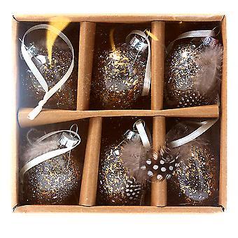 Zes 5cm glazen goud gespikkelde eieren met veren versieringen