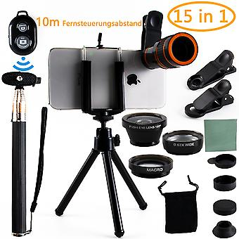 Handy Objektiv, Handy Kamera Objektiv 10 in 1 Kit 12x Zoom