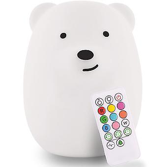 Lasten yövalo, söpö lastenhuonevalo vauvalle, silikoni led-lamppu, kauko-ohjattava, Usb-ladattava akku, 9 käytettävissä olevaa väriä, ajastin automaattinen sammutettu