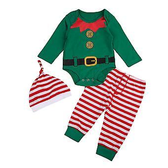 Fulg de nea Stripe trei piese Baby Set de Crăciun festive îmbrăcăminte pentru copii Set