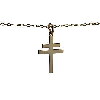 9ct Gold 25x17mm Cross of Lorraine with a belcher Chain 24 inches